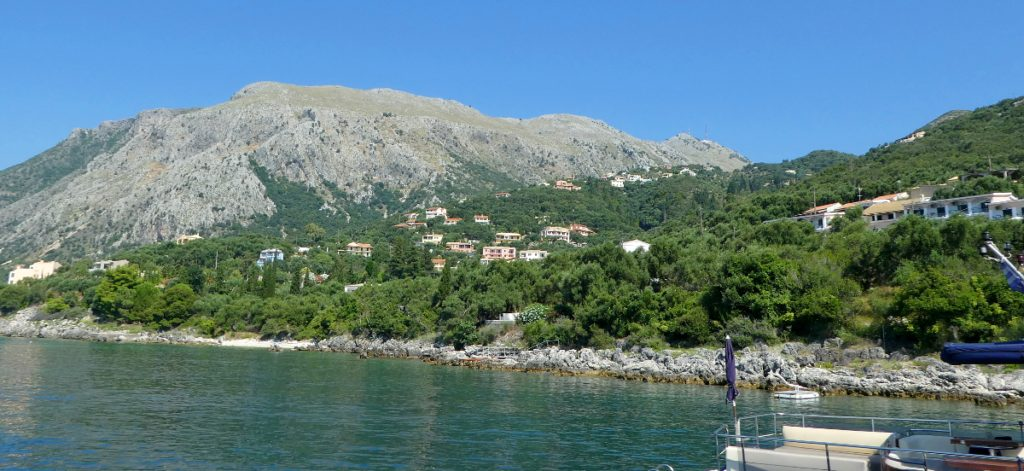 Trip - View of Villa Andonis and others from Nissaki Harbor.