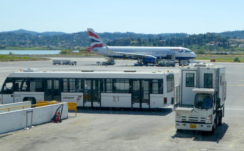 Trip - BA A-320, Passenger bus, wheel-chair loading truck.